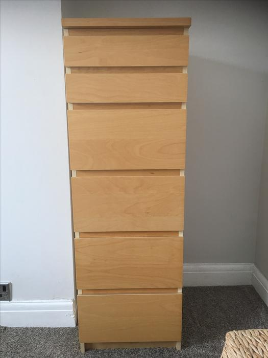 ikea malm beech tall chest of 6 drawers west bromwich dudley. Black Bedroom Furniture Sets. Home Design Ideas