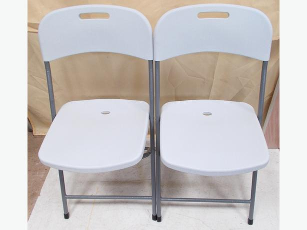 One Pair of Platsic Fold Away Chairs White/Grey