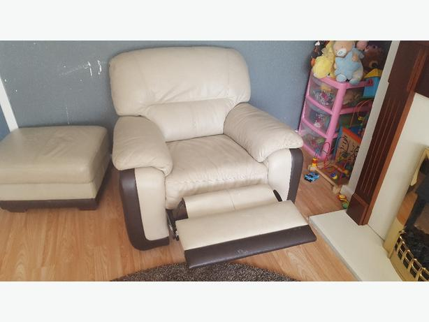 2 seater sofa with recliner chair