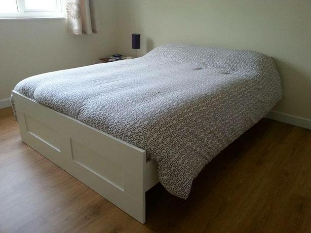 IKEA Brimnes king size bed with mattress 160x200cm free delivery Wednesbury, Dudley