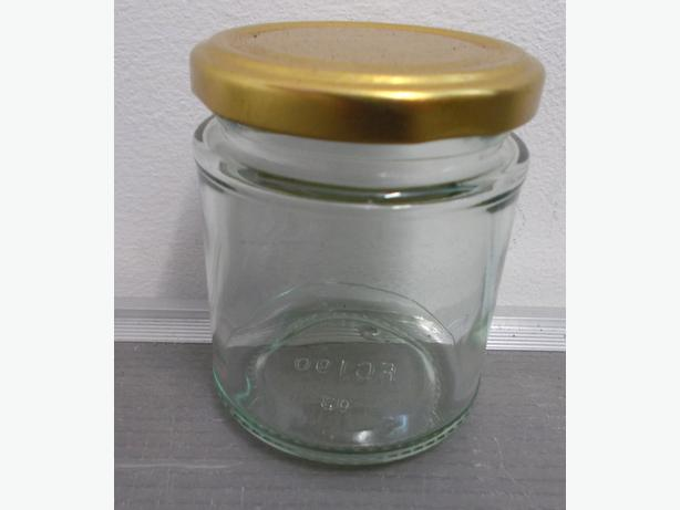 Joblot of 75 Small Jam Jars with Gold Lid