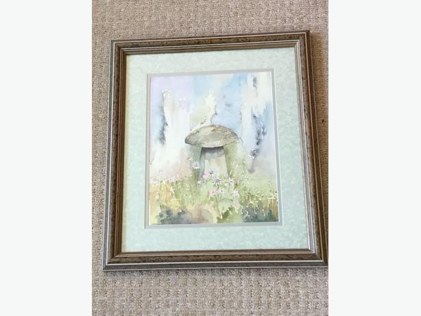 Signed Original Watercolour Painting Yorkshire Dales Staddle Stone Farming Barn