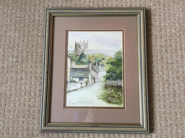 Signed Original Watercolour Painting Withington Gloucestershire Village Artist
