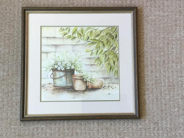 Signed Original Watercolour Painting Still Life of Flowers in Pots