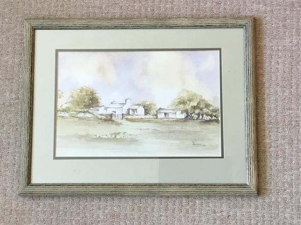 Signed Original Watercolour Painting Yorkshire Dales Farmhouse Farming Barns