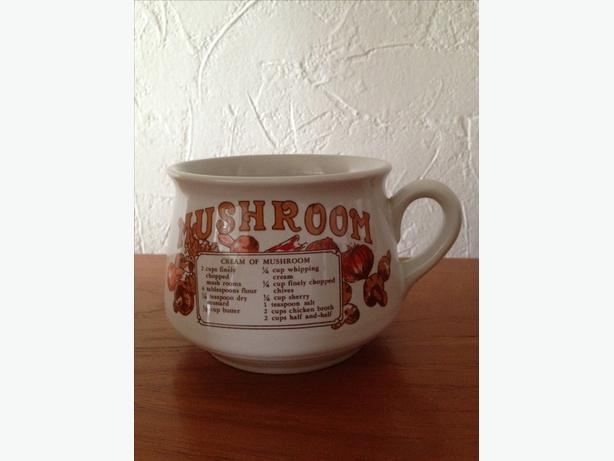 Retro Vintage Soup Mug Bowl Mushroom Recipe Kitchen 1980
