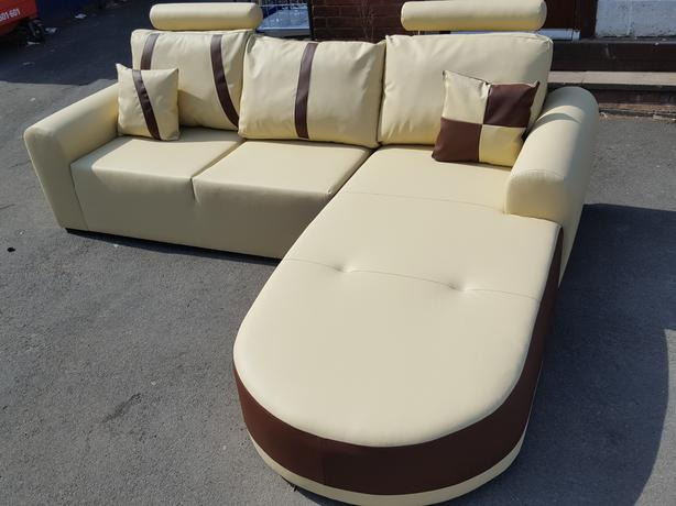 brand new cream and brown leather corner sofa with chase lou