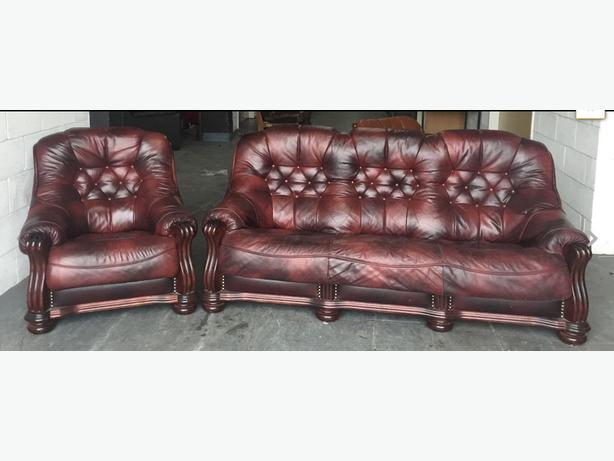 Chesterfield Style Oxblood Red Leather Oak Sofa Set WE DELIVER Smethwick, Dudley