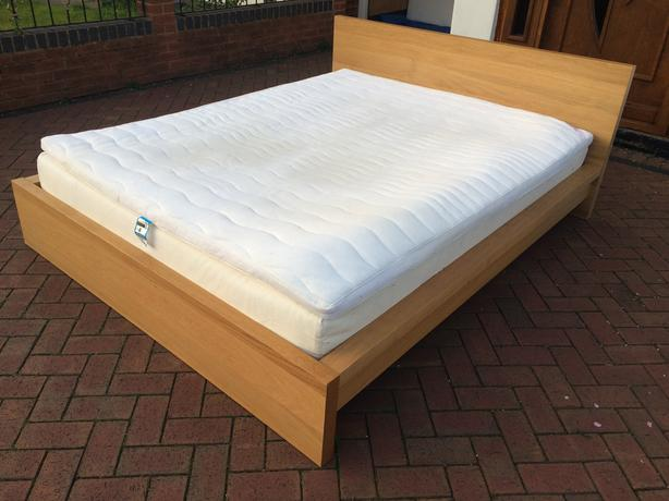 ikea malm 160x200 king size bed with mattress and topper free delivery wednesbury sandwell. Black Bedroom Furniture Sets. Home Design Ideas