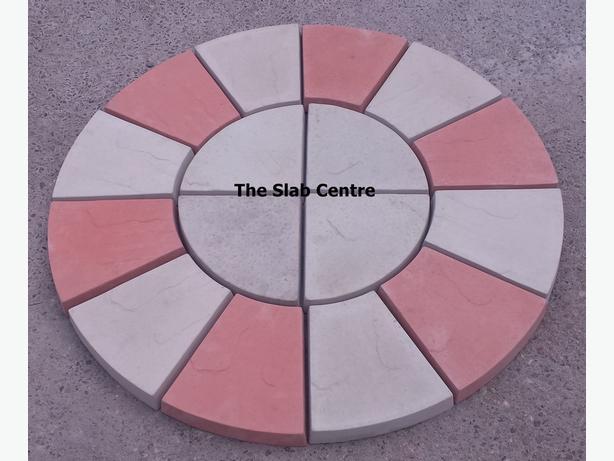 New Natural Grey & Red Multi Riven Patio Circle Rotunda