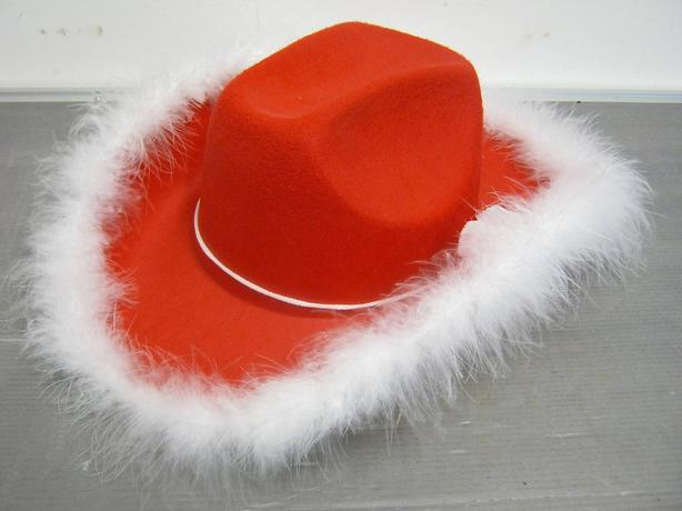 12x Red Cowboy Hats with White Fur Trim