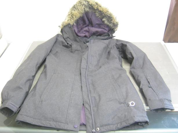 Alpine Crystal Jacket Fur Hood Grey Size 8