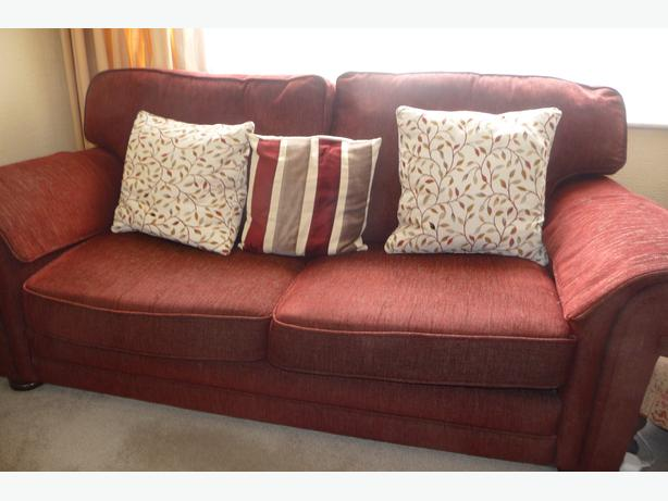Lovely Bed Setee Sofa Bed 3 Seater Four Cushions Folding