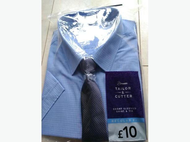 "Tailor & Cutler Blue Short Sleeved Shirt & Tie Size 18.5"" New Unopened"