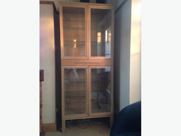 Ikea light oak glass cabinet