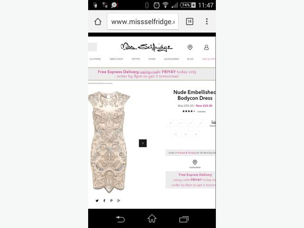 WANTED: MISS SELFRIDGE DRESS SIZE 14 OR 16