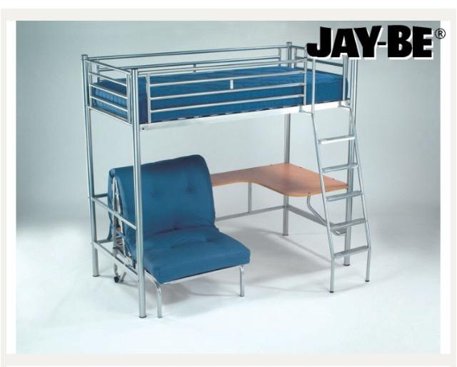 Jay be studio 3 bunk bed with desk futon underneath for Jay be bunk bed