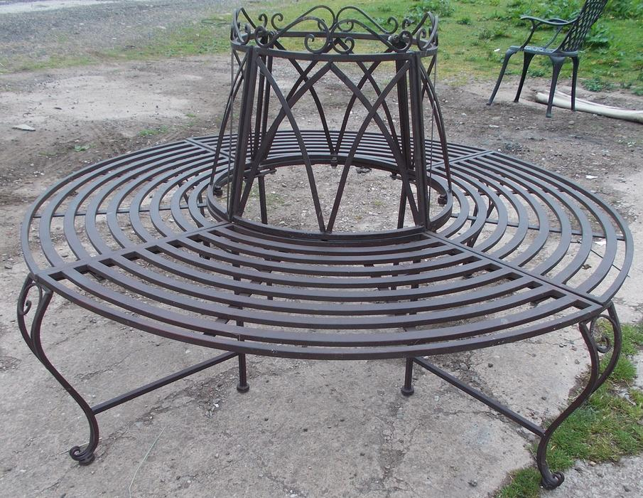 Garden tree bench seat round steel antique brown walsall for Benches that go around trees