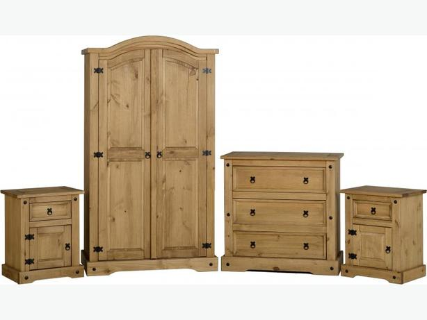 CORONA 4PCE BEDROOM SET IN SOLID WOOD BRAND NEW