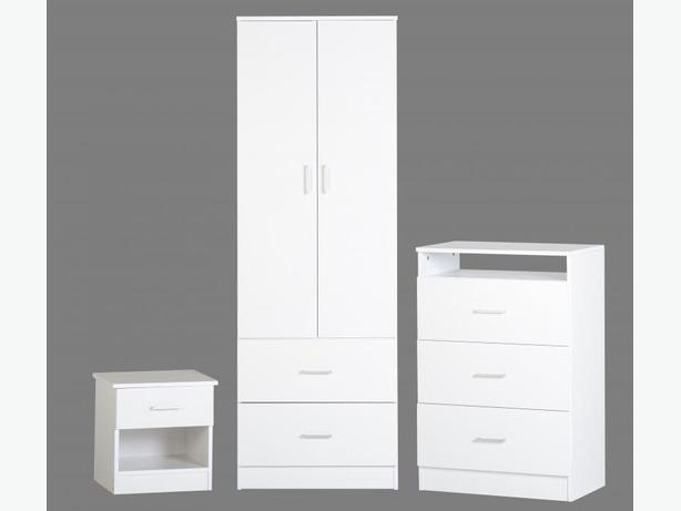 3 PCE WHITE BEDROOM SET
