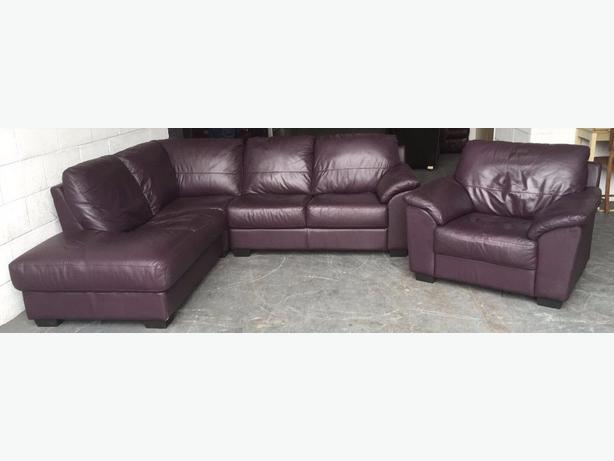 Dfs purple maroon leather corner sofa set we deliver for Purple leather sofa