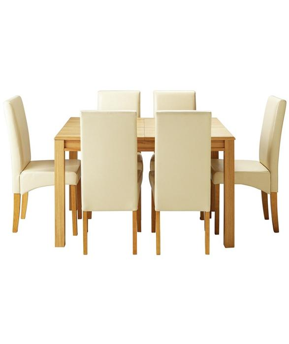 Penley Oak Stain Extendable Dining Table And 6 Cream Skirted Leather Chairs