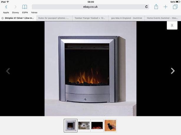 Dimplex X1 Silver 1.2kw Inset Electric Fire c/w Coal and Pebble Effect