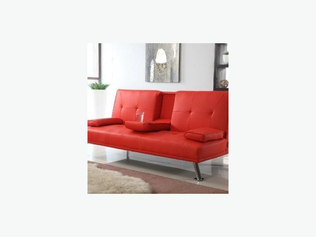 Free local delivery red faux leather sofabed sofa bed for Sofa bed free delivery