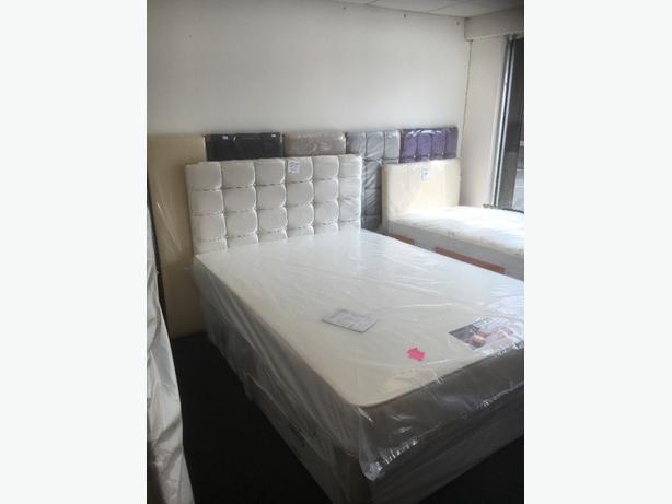 DELUXE DOUBLE DIVAN BED - free leather headboard