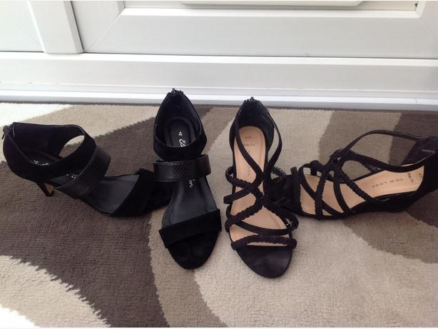 2 pairs black sandals size 4  new look £5 each
