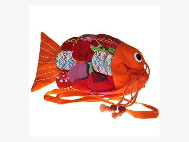 Recycled Handmade Fish Bags - Orange code FISHB-05