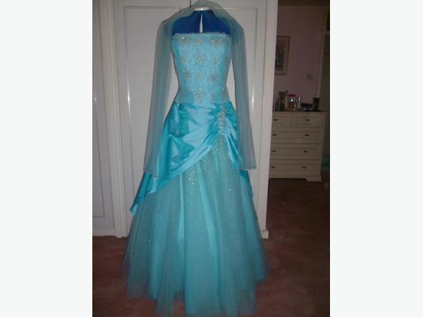 Exquiste Turquoise Prom dress (handmade) by Goya of London Size14 BRAND NEW