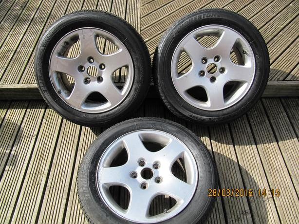 3 x peugeot wheels and tyres  5 stud 205/55/16