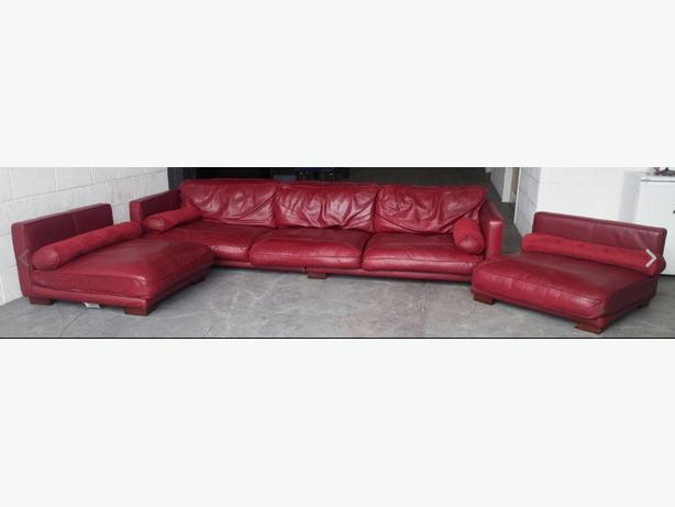 Rrp gbp3500 dfs california red leather modular corner sofa for Red leather modular sectional sofa