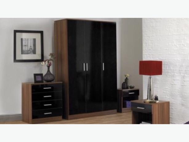 Black High Gloss And Walnut Full Bedroom Set Dudley Dudley