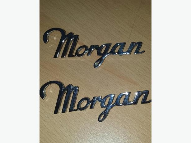 Morgan script car badge