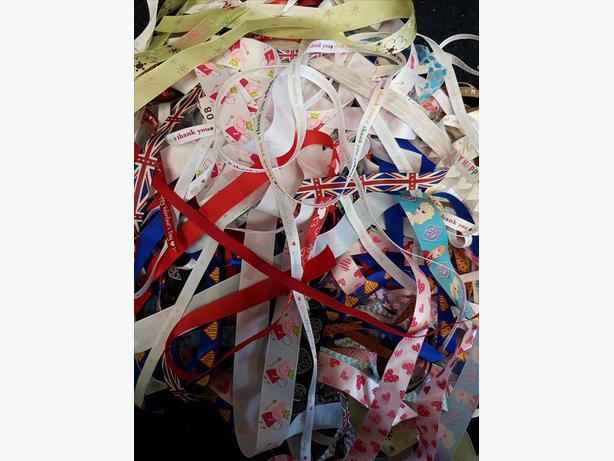 Ribbon scraps over 100 lengths long and short