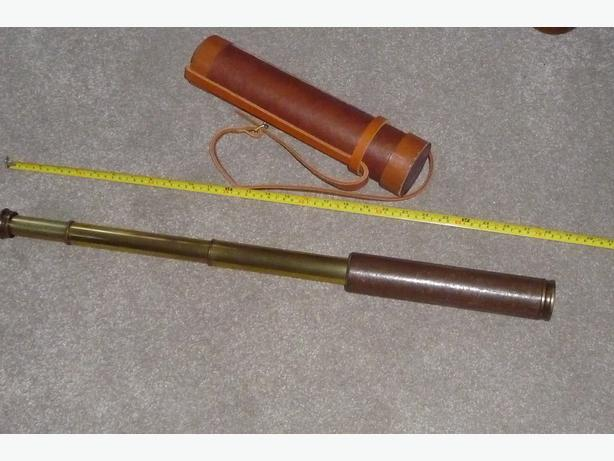 ANTIQUE  BRASS & LEATHER 3 DRAW TELESCOPE