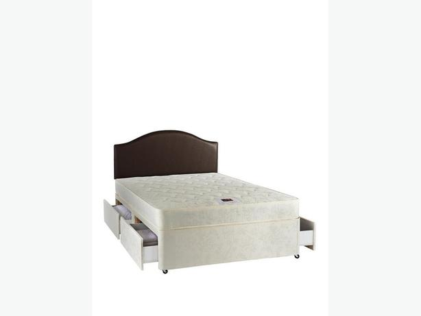 DOUBLE DIVAN BED BASE & MATTRESS NON STORAGE BED