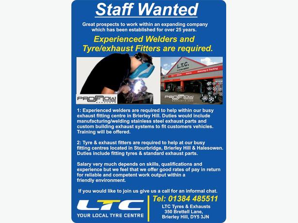Experienced Welders are required to help within our busy  exhaust centre