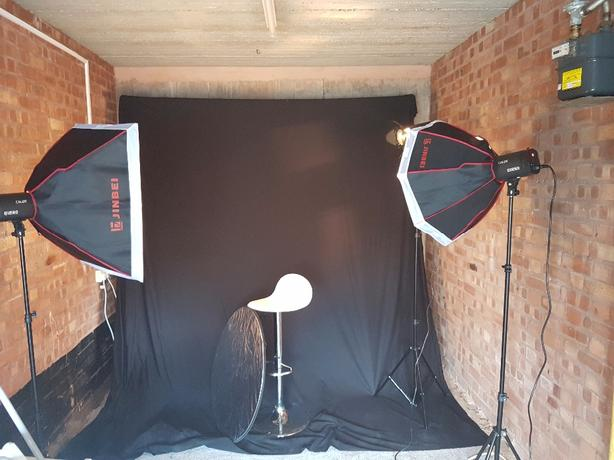 Complete home studio lighting with backdrops