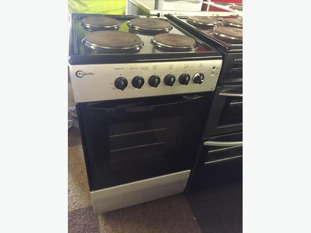 SILVER/BLACK FLAVEL ELECTRIC 50 CM WIDE Electric COOKER WITH GUARANTEE