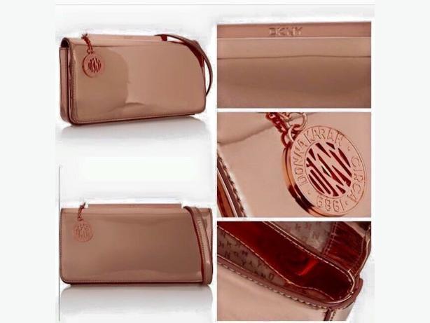 DKNY METALLIC PINK CLUTCH BAG