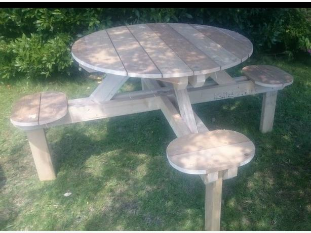 hand made garden table and seating