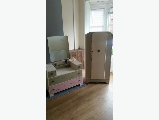 REDUCED!!!Matching Vintage Look Dressing Table And Mini  Wardrobe