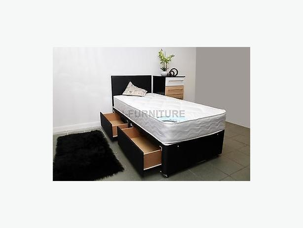 BLACK BASE PLATINUM BED 2 DRAWS