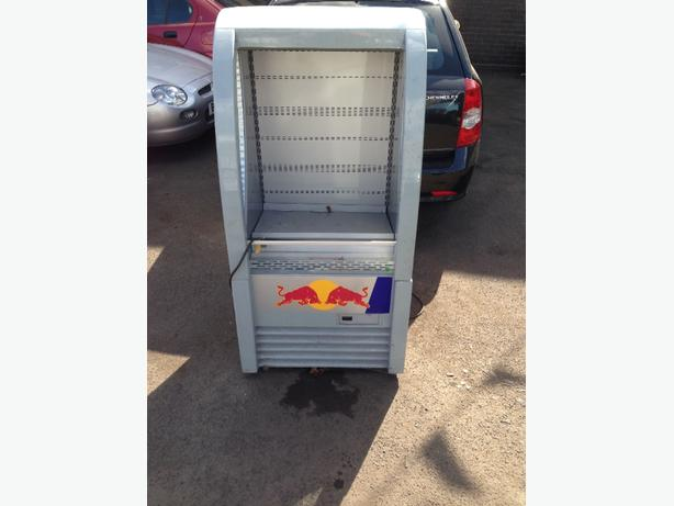 red bull open front fridge