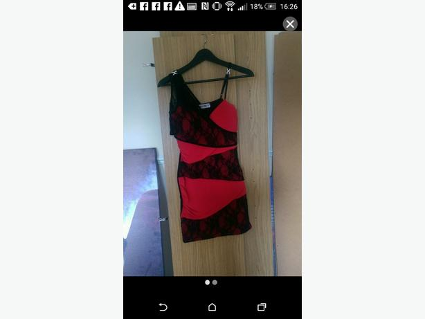 Red and Black, lace detail dress. Size 8.