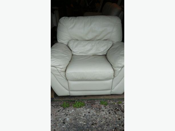 Cream leather recliner 2 seater and a 1