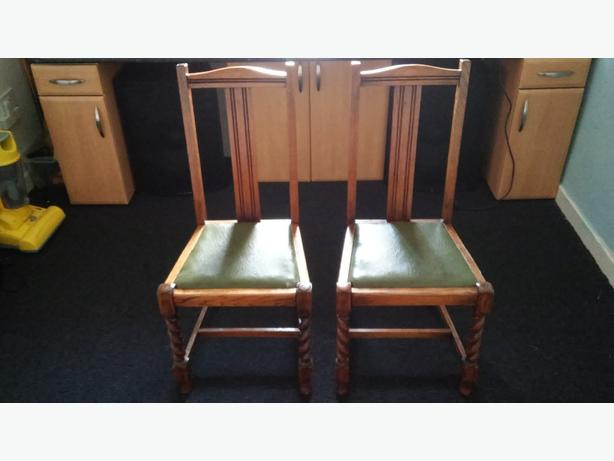 antique oak dining chairs x2